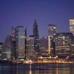 Ночные небоскребы в США