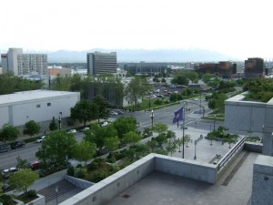 Центр города Солт-Лейк-Сити с высоты