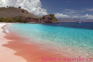 Розовый песок на пляже острова Харбор
